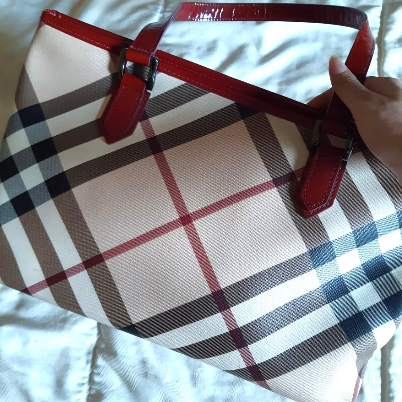 Burberry Nova check red nickie Tote Bag  ORIGINAL from store (Preloved clean / no defect)