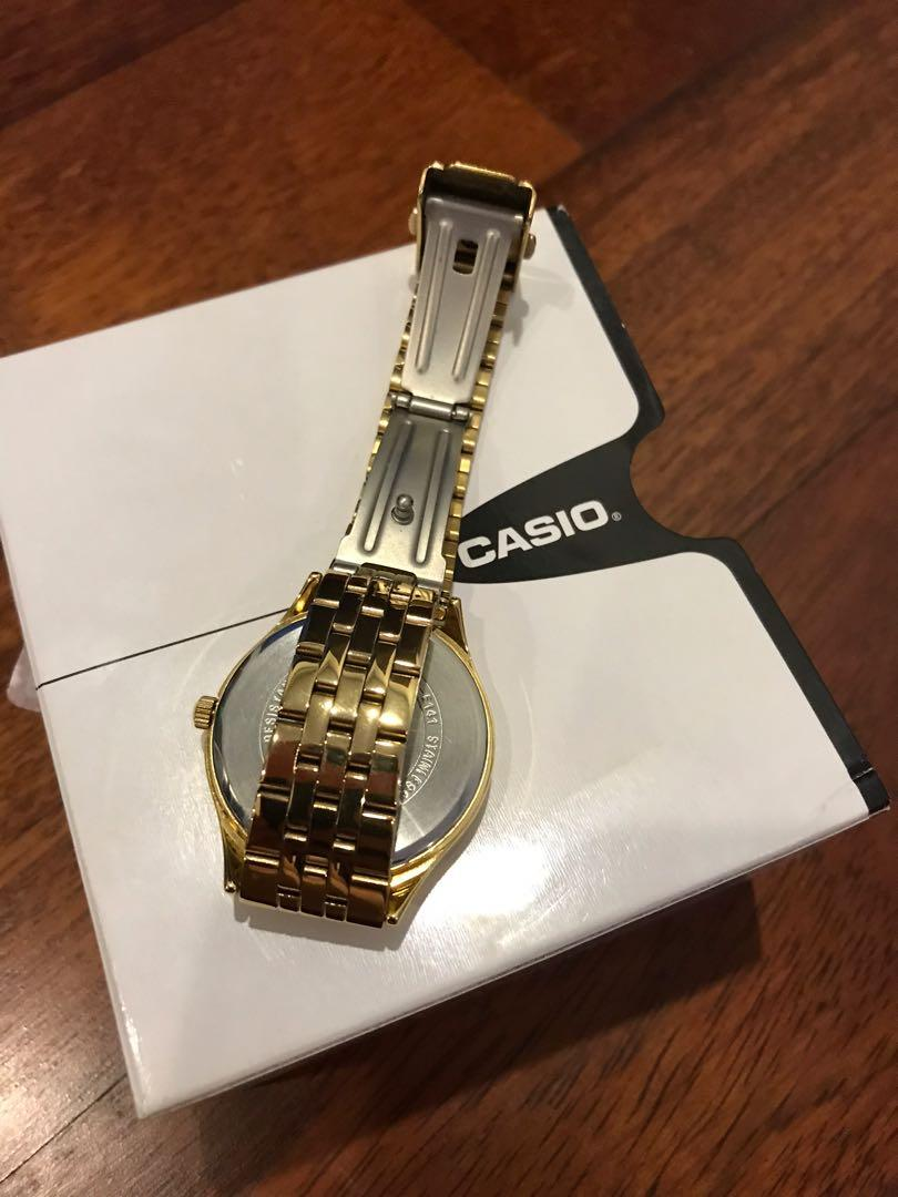 Casio Mineral Glass Dial With Date Display Stainless Steel Watch For Women, LTP-E141G-2AVDF, Gold Blue