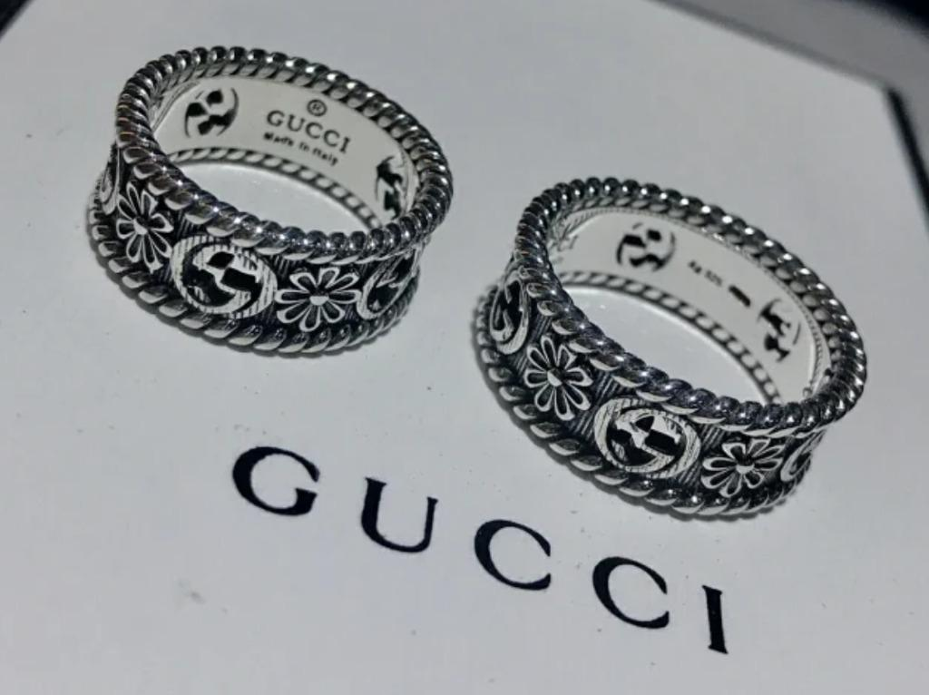 Gucci classic double G ring men and women sterling silver 925 retro style simple Gucci couple