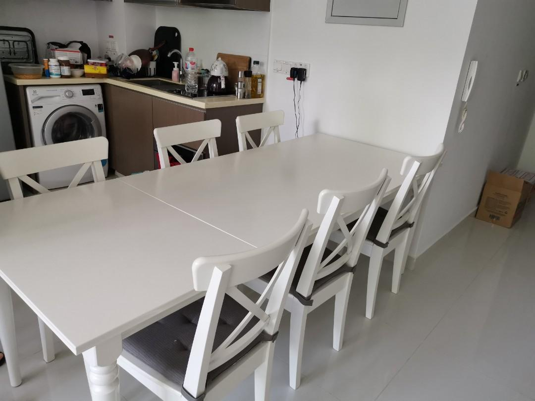 Ikea White Dining Table Set Furniture Tables Chairs On Carousell