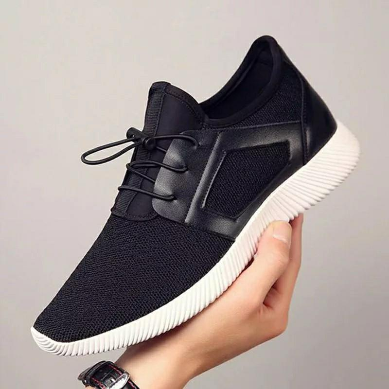 Men Knitting Mesh Breathable Flat Heel Shoes Sport Running Casual High Quality Sneakers Foreign Trade Cross-Border Men's Shoes