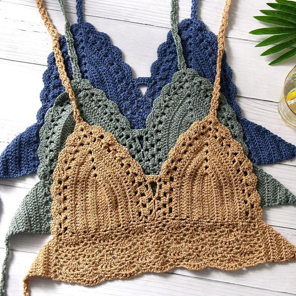 New Sexy Bikini Crop Top Women Crochet Boho Beach Camisoles Bikini Bralette Halter Cami Knitted Bra Backless Beachwear Tank Top