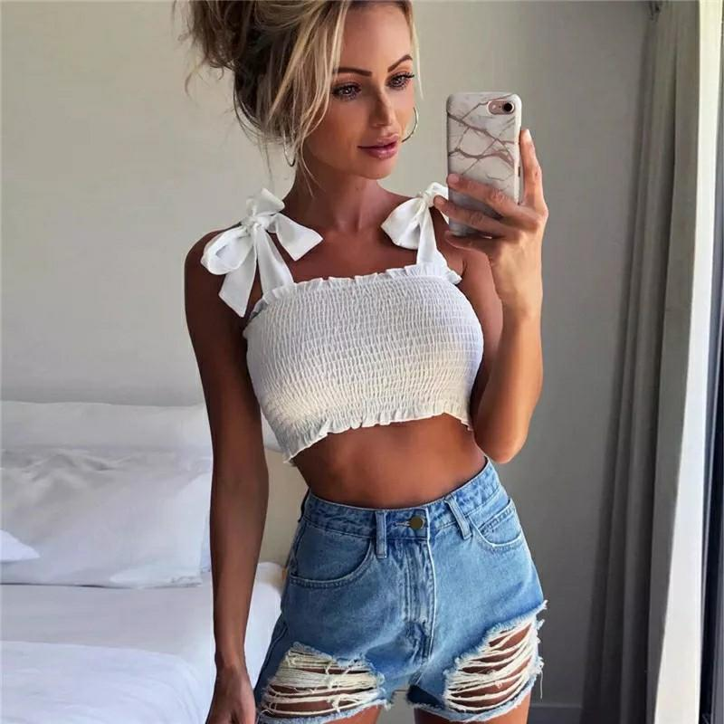 New Summer Autumn Tube Crop top Women | Girls Bow Tie Strap Ruched tank Top Lettuce Edge Elastic Camis 5 colors