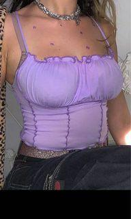 purple lilac ruffle ruched tank top