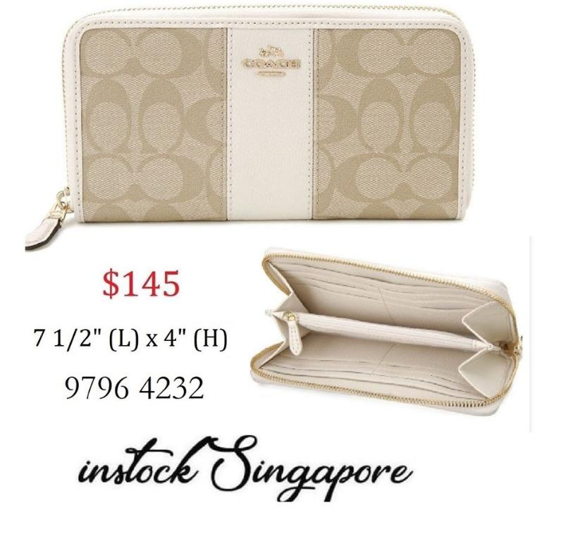 READY STOCK AUTHENTIC NEW Coach ACCORDION ZIP WALLET IN SIGNATURE COATED CANVAS WITH LEATHER STRIPE COACH-F54630 (WHITE)