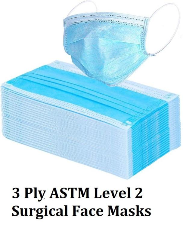 Surgical Face Mask 3 Ply ASTM Level 2 Hospital Grade Pack of 5 Pieces