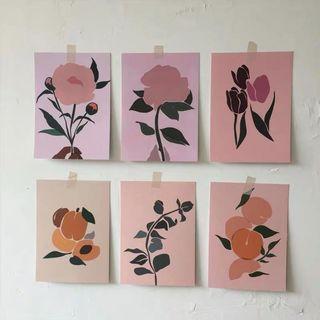Wall Art Flower Set Of 6 (PO)