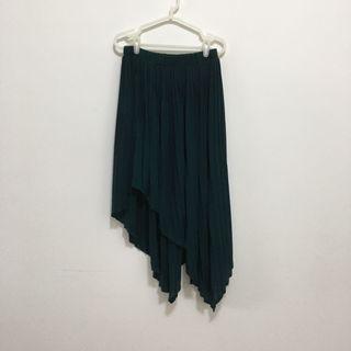 🌷二手//深藍綠色 黑色 鬆緊腰 百褶裙 不規則百摺裙 #潮牌