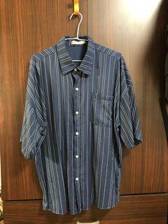 短袖條紋襯衫 XL
