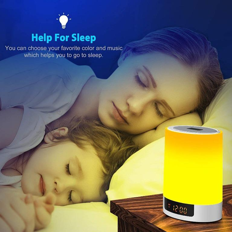 Alarm Clock with Bluetooth Speakers, Kids Night Light Touch Sensor LED Color Bedside Lamp, Portable Wireless MP3 Music Player for Bedrooms, Party, Gifts: Home Audio & Theater