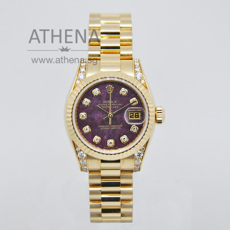 "ROLEX 18K YELLOW GOLD ROLEX LADIES DATEJUST ""Z"" SERIES ""MAROON SOLIDATE DIAMOND DIAL"" WITH ORINGIAL ROLEX DIAMOND SETTING ON THE LUGS, CHAPTER RING & CERT 179238 (LOCAL AD) *JWWRL_1239*"