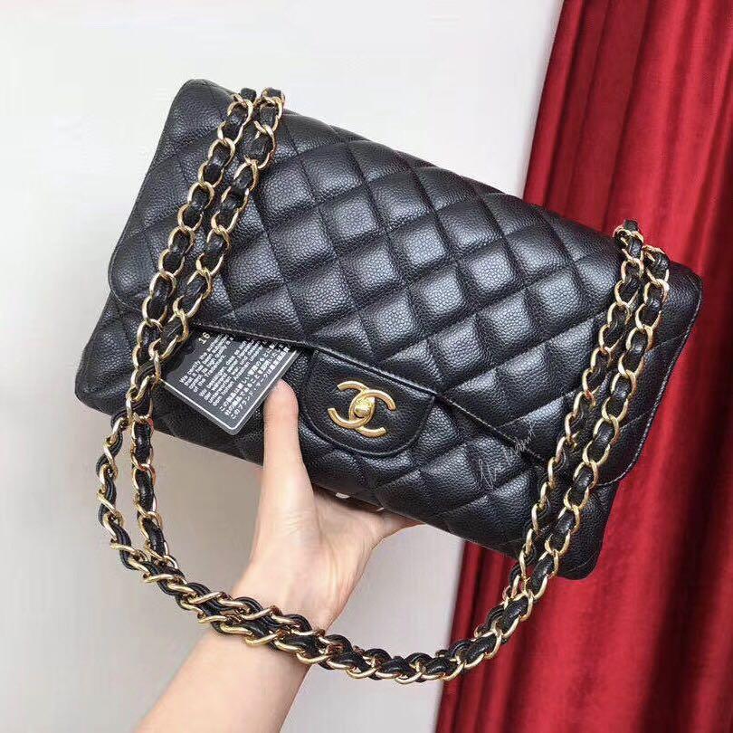 Authentic Chanel Jumbo Black Caviar Leather Medium Double Flap Gold Hardware