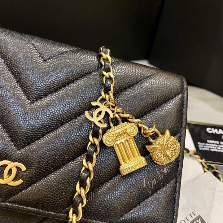 Authentic Chanel Limited Edition Wallet On Chain Chevron Black Caviar Leather Gold Hardware