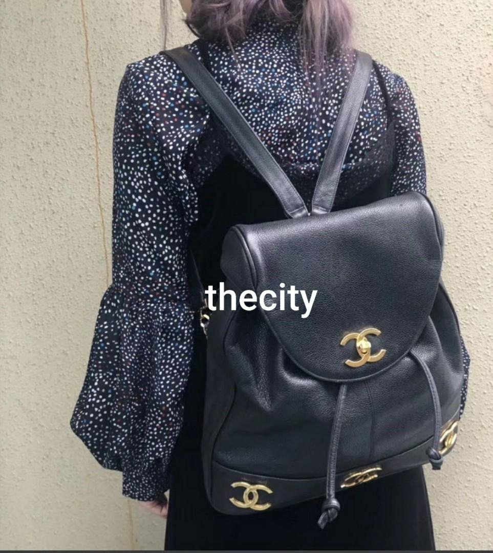 AUTHENTIC CHANEL VINTAGE CAVIAR LEATHER - BLACK - GOLD HARDWARE - CC LOGO - BACKPACK