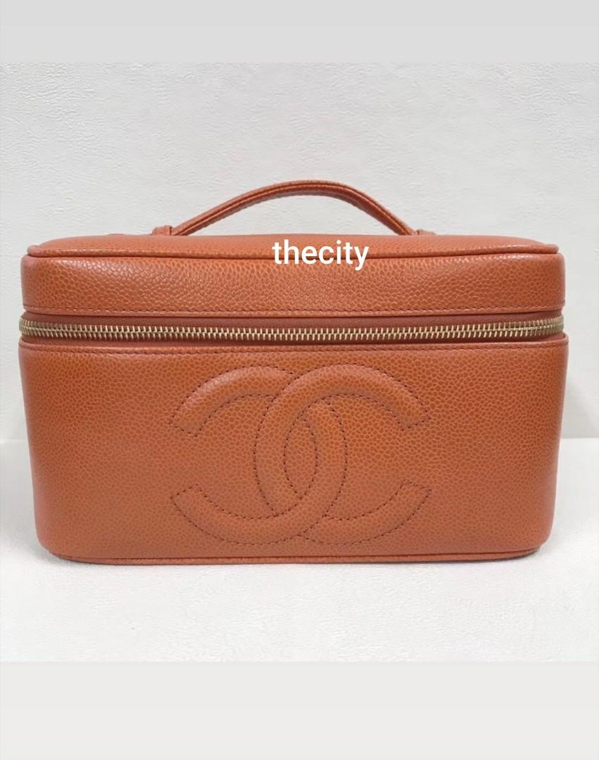 AUTHENTIC CHANEL XL VANITY BAG - RARE BROWN/ ORANGE CAVIAR LEATHER  - VINTAGE