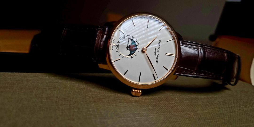 Bargain 18k Solid Gold Frederique Constant Slimline Moonphase
