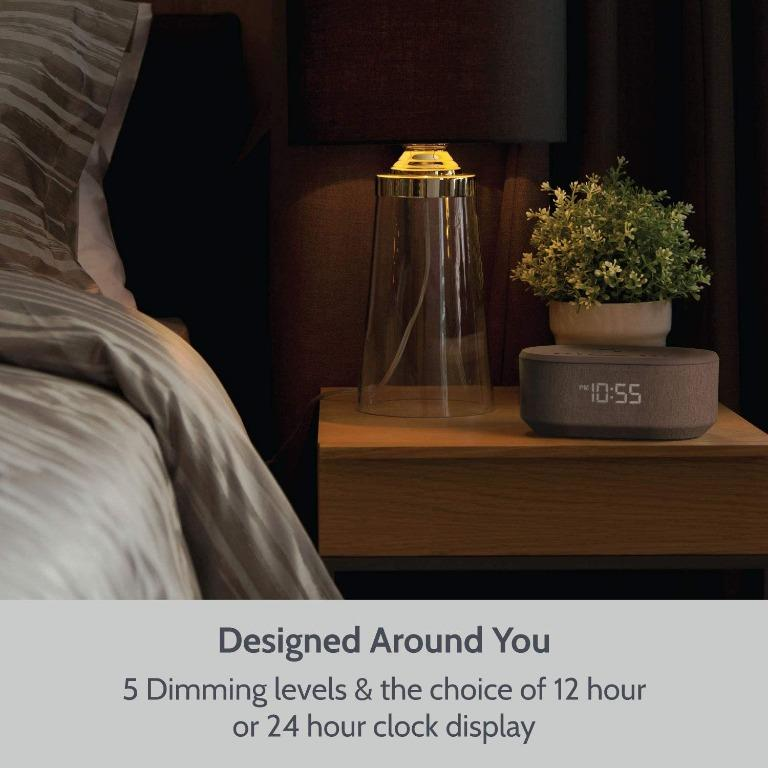 Bedside Radio Alarm Clock with USB Charger, Bluetooth Speaker, QI Wireless Charging, Dual Alarm Dimmable LED Display (Grey): Home Audio & Theater