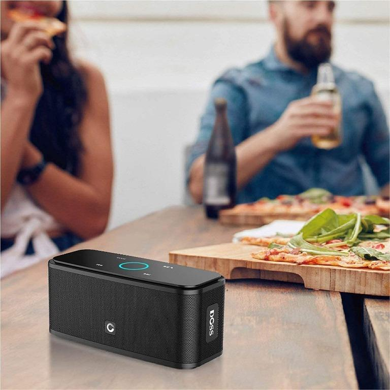 Bluetooth Speakers, DOSS SoundBox Touch Wireless Bluetooth V4.0 Portable Speaker with HD Sound and Bass, 12H Playtime, Built-in Mic, Portable Wireless Speaker Compatible with Phone, Tablet, TV-Black: Electronics
