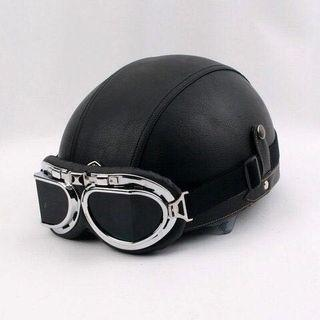 現貨全新 Cafe Racer 巡航 哈雷 復古 雙鏡皮半盔