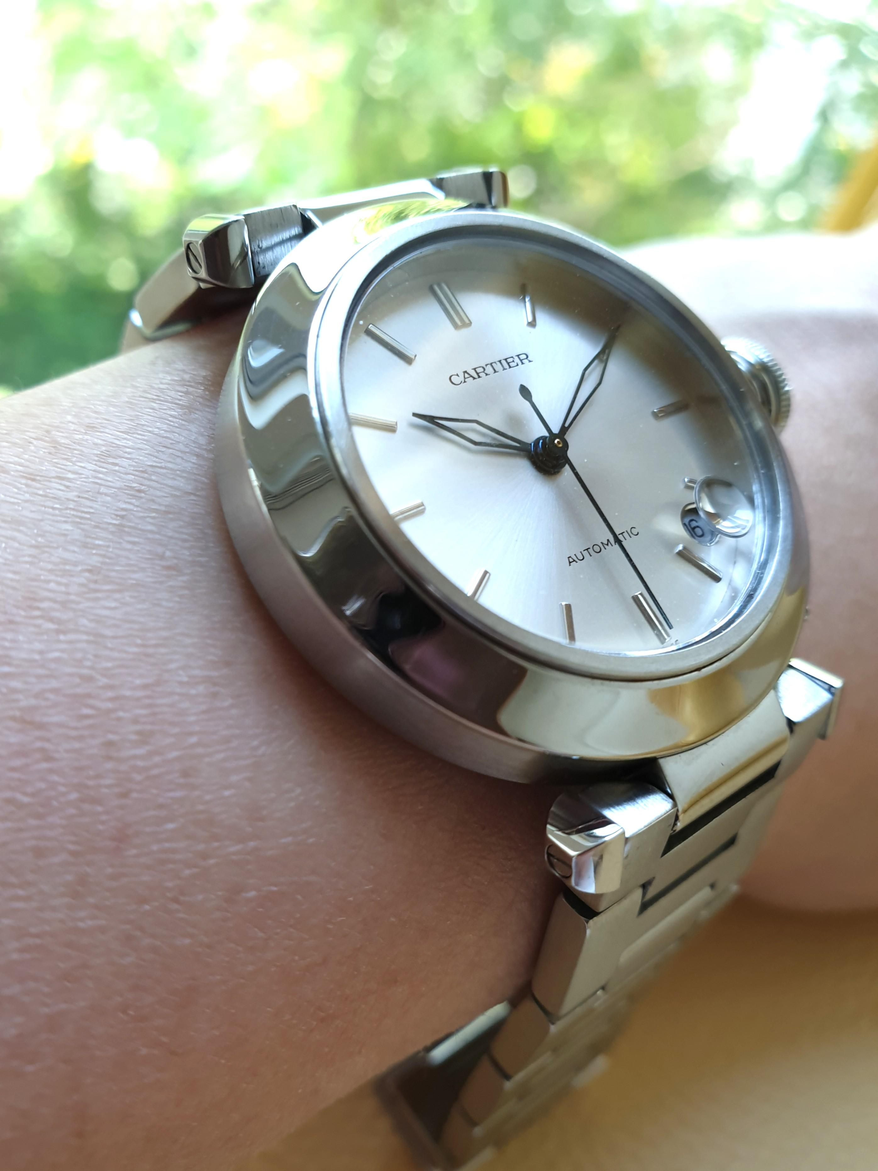 Cartier Pasha Silver Dial Date Stainless Steel Ladies                                                                                       Rolex Tudor Cartier Omega Iwc AP Chopard Tag Heuer Apple