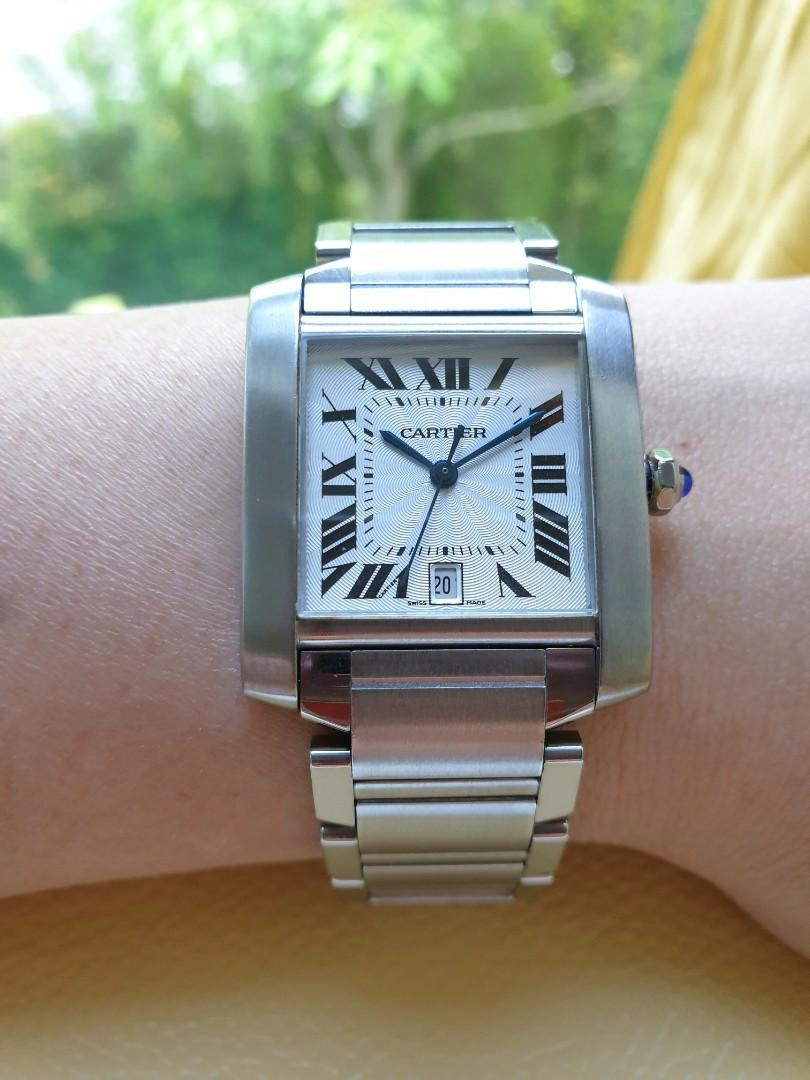 Cartier Tank Francaise Ladies Classic Silver Dial Date Automatic
