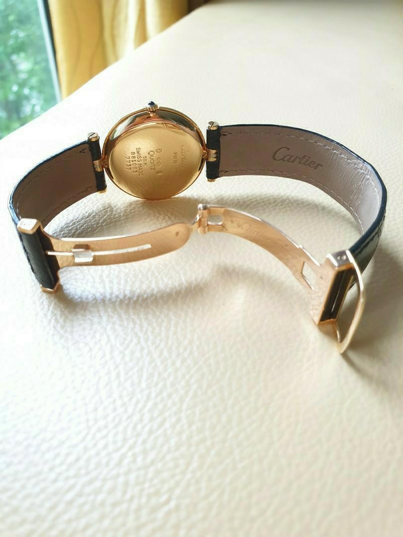 Cartier Vendome Trinity TriColour 18K Yellow, White & Rose Golds Leather Strap Quartz 30mm                                                                           Rolex Tudor Cartier Omega IWC AP Chopard Tag Heuer Apple