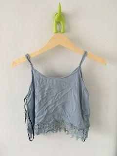 Forever21 Crop blue Tank Top