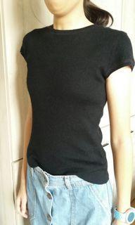 G2000黑色百搭小包袖短毛衣(基本款)