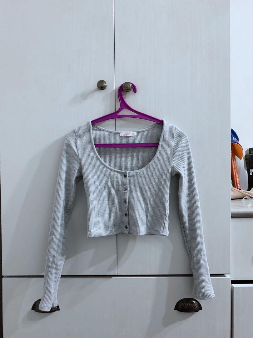 Grey button front long sleeve
