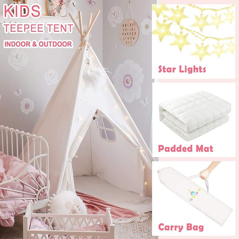 ids Teepee Tent with Padded Mat & Light String& Carry Case- Kids Foldable Play Tent for Indoor Outdoor, Raw White Canvas Teepee – Kids Playhouse – Portable Kids Tent