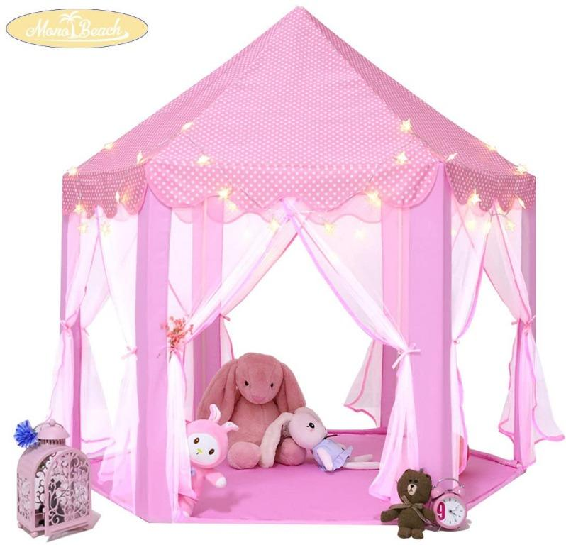 "Monobeach Princess Tent Girls Large Playhouse Kids Castle Play Tent with Star Lights Toy for Children Indoor and Outdoor Games, 55"" x 53"" (DxH)"