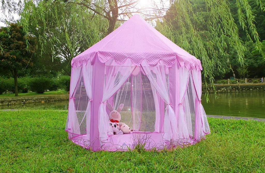 """Monobeach Princess Tent Girls Large Playhouse Kids Castle Play Tent with Star Lights Toy for Children Indoor and Outdoor Games, 55"""" x 53"""" (DxH)"""