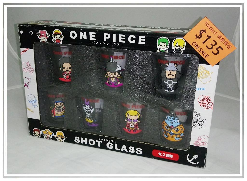 One Piece 海賊王 迷你玻璃杯 一盒七隻 @4.7cm直徑 x 6cm高 路飛