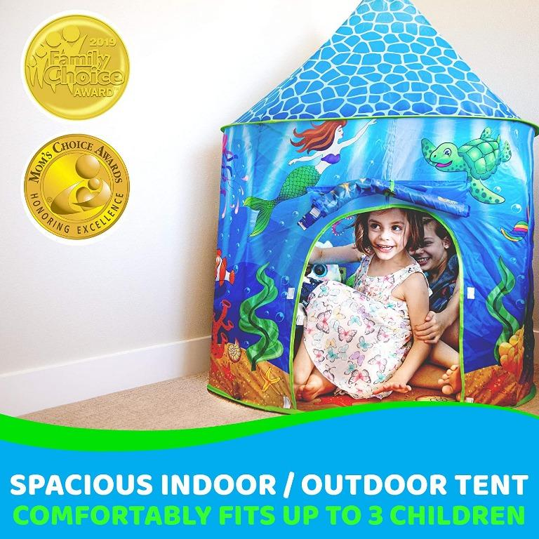 USA Toyz Mermaid Kids Tent – Under Sea Kids Play Tent, Indoor Playhouse with Pop Up Tent Storage Tote and Kaleidoscope Toy