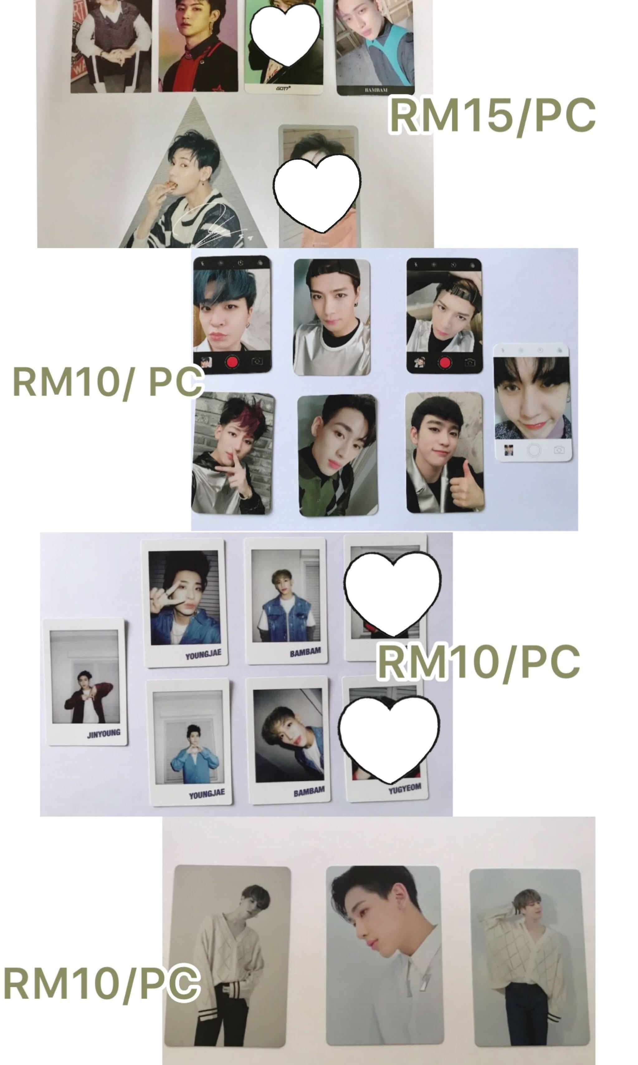 [WTS] GOT7 Photocards/Pc/ Mirror card/ Bookmark from various albums