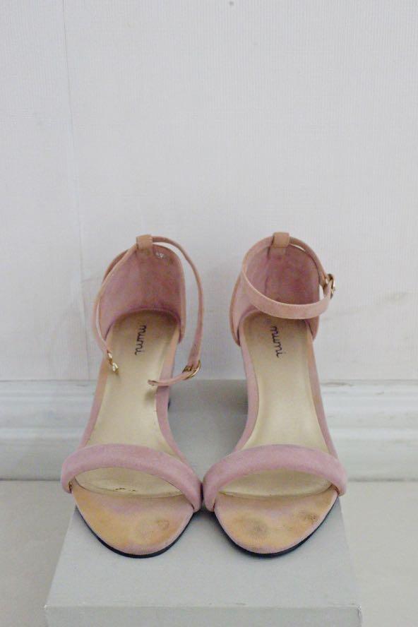 Blush pink suede heels, Women's Fashion