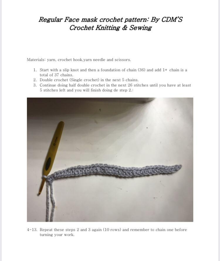 Crochet Regular face mask PDF pattern