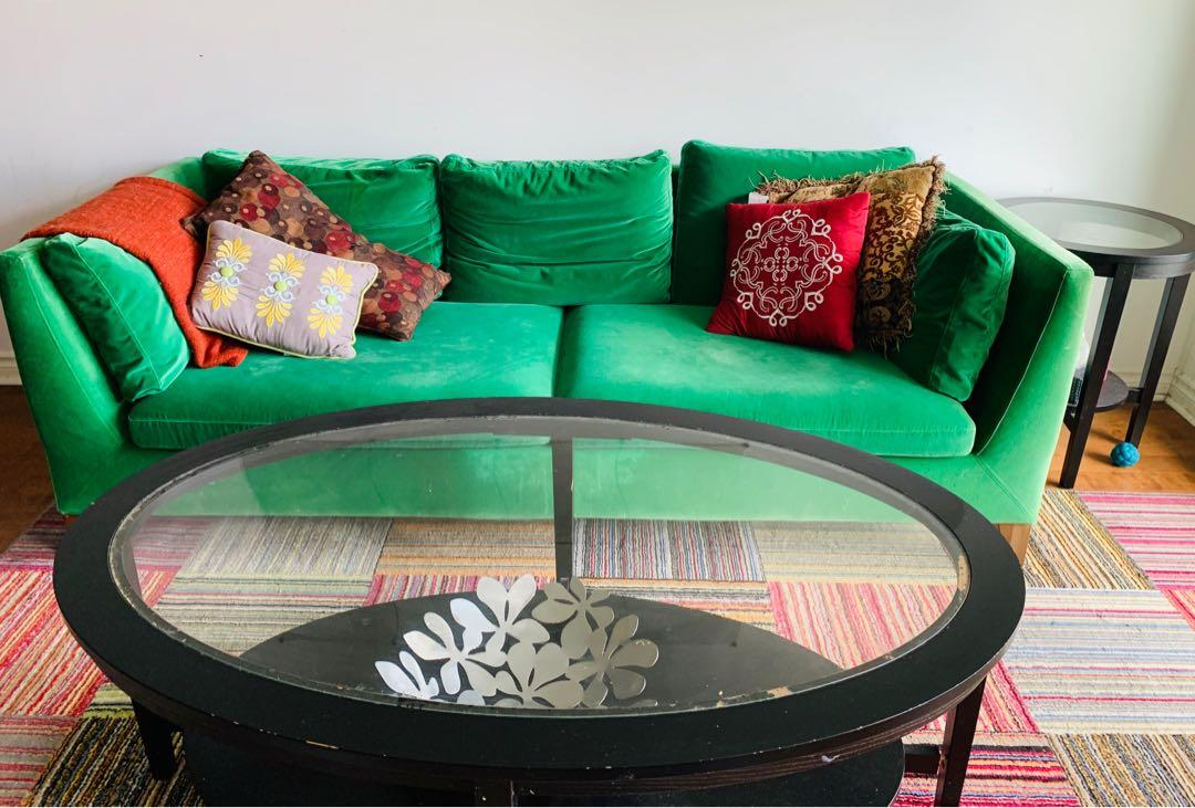Green Sofa with Coffee Table