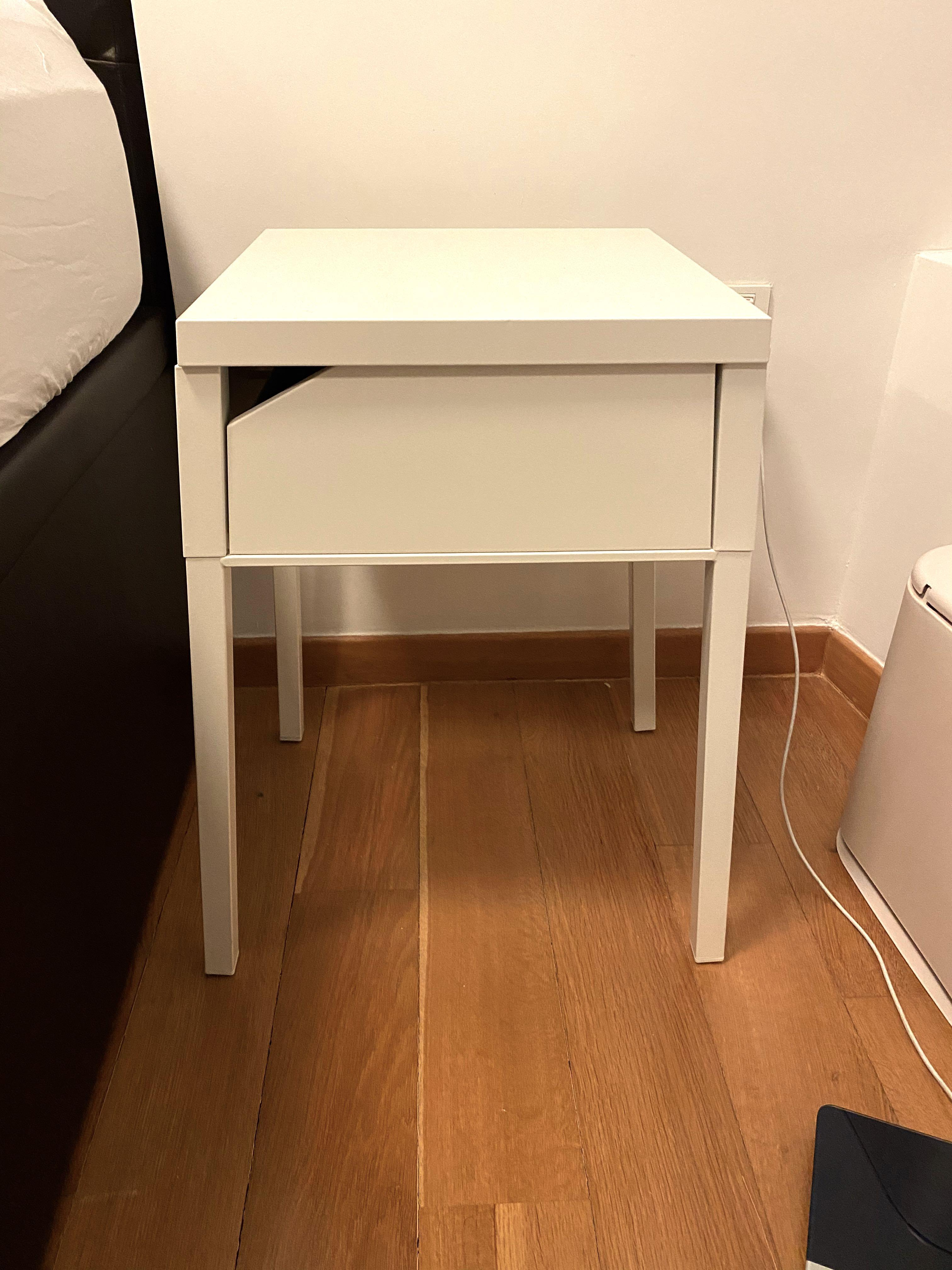 Picture of: Ikea Bedside Table Drawer White Metal Furniture Shelves Drawers On Carousell