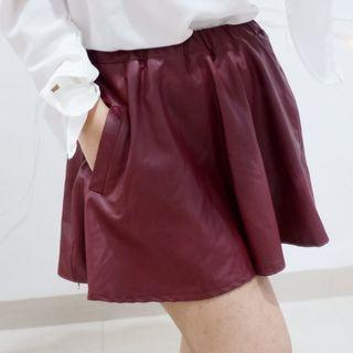 Leather Skirt Maroon