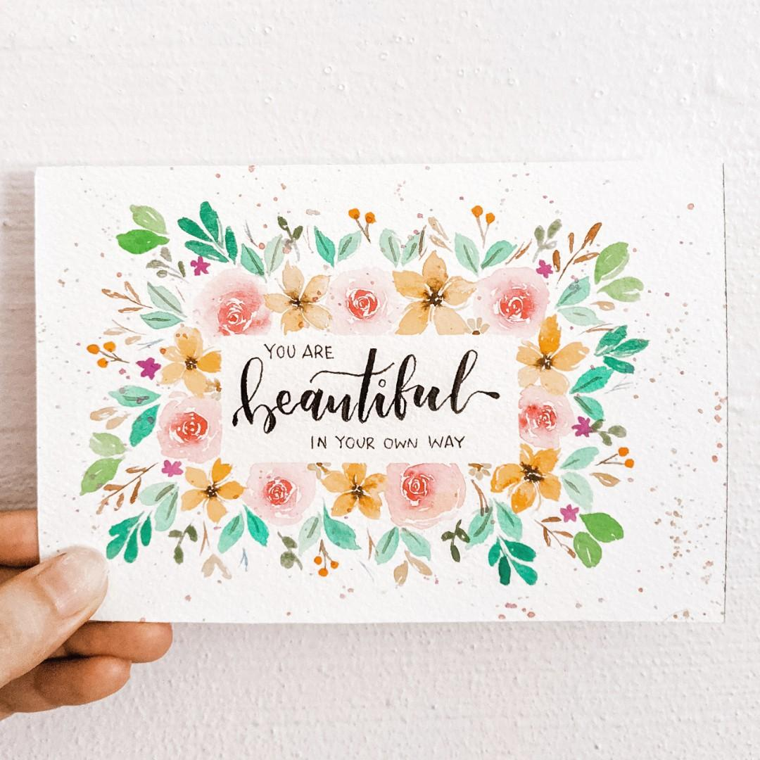 Watercolour Floral Wreath Quote Card Design Craft Art Prints On Carousell