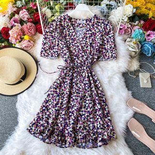 歐美碎花系列短裙洋裝