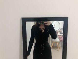 black lace up knit top