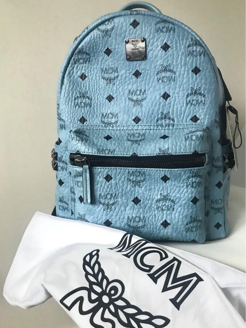Mcm Stark Sided Backpack Medium Denim Light Blue