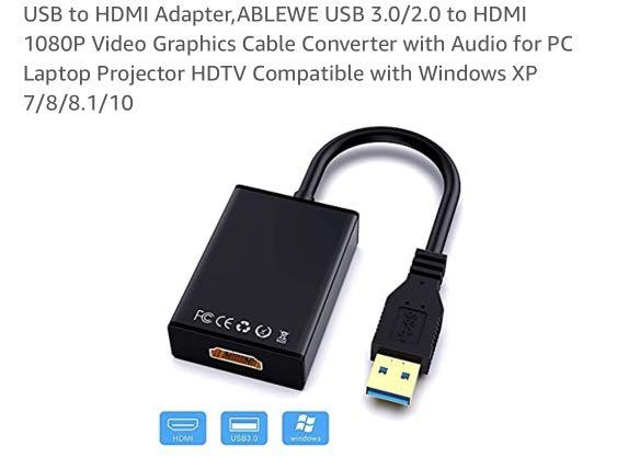 USB 3.0//2.0 to HDMI 1080P Video Graphics Cable Converter with Audio for PC Laptop Projector HDTV Compatible with Windows XP 7//8//8.1//10 USB to HDMI Adapter