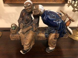Charming Vintage chinese ceramic figurine of an old couple