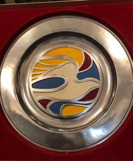 Vintage Enamelled Pewter plate from York 1950s