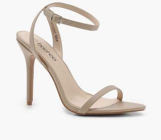 Boohoo Pointed Toe Barely There Nude Heels Sz. 38