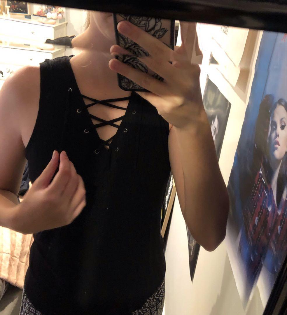 Lace up tank top