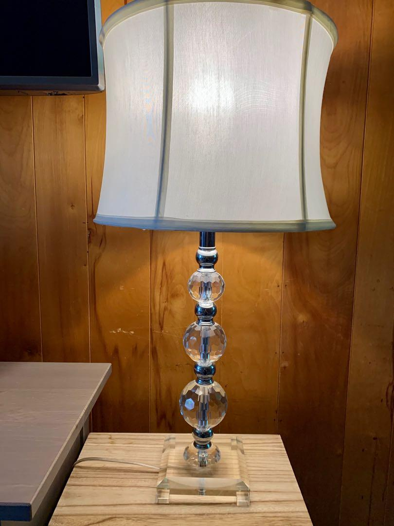 Like new crystal w/ silver hardware table lamp